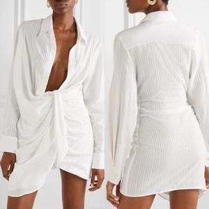 jacquemus bahia draped embroidered mini dress